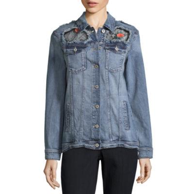 Arizona Lace Patch Denim Jacket-Juniors
