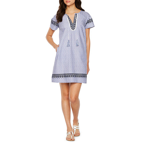 Vivi By Violet Weekend Short Sleeve Striped Shift Dress