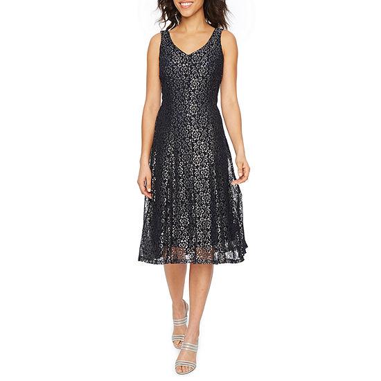 J Taylor Sleeveless Midi Sheath Dress