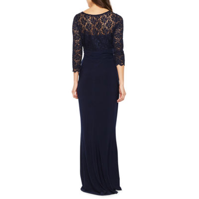 Blu Sage 3/4 Sleeve Lace Top Evening Gown