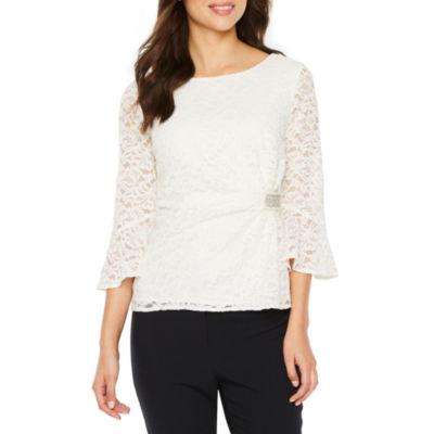 Scarlett 3/4 Sleeve Embellished Lace Blouse