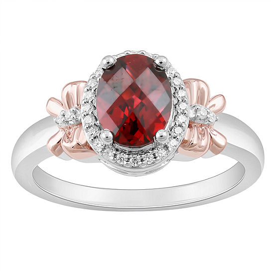Enchanted Disney Fine Jewelry Womens 1 10 Ct Tw Diamond And Genuine Garnet Sterling Silver Cocktail Ring