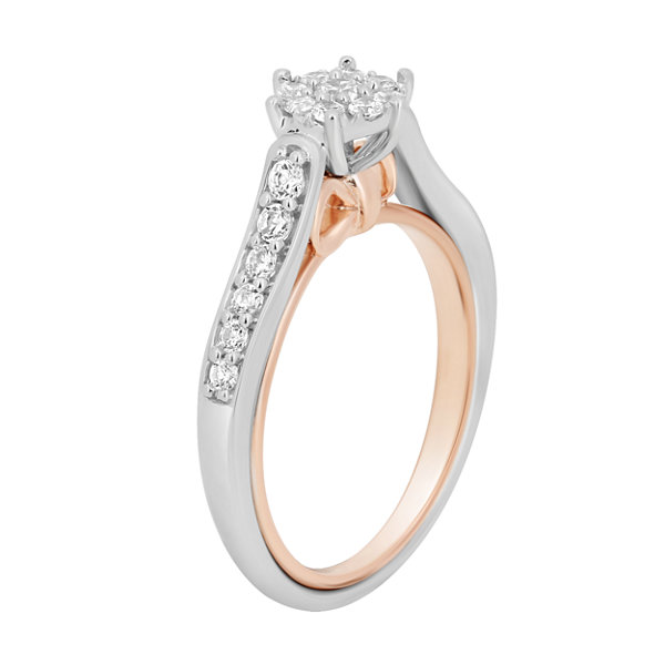 Enchanted Disney Fine Jewelry Womens 1/2 CT. T.W. Genuine Round Diamond 10K Gold Engagement Ring
