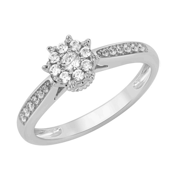 Enchanted Disney Fine Jewelry Womens 1/4 CT. T.W. Genuine Round White Diamond 10K Gold Engagement Ring