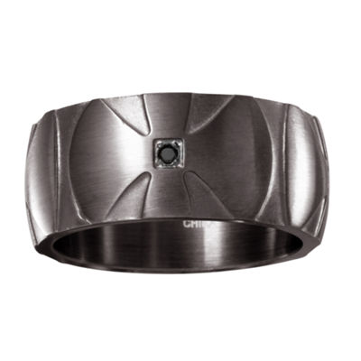 Mens Diamond Accent Black Diamond Stainless Steel Wedding Band