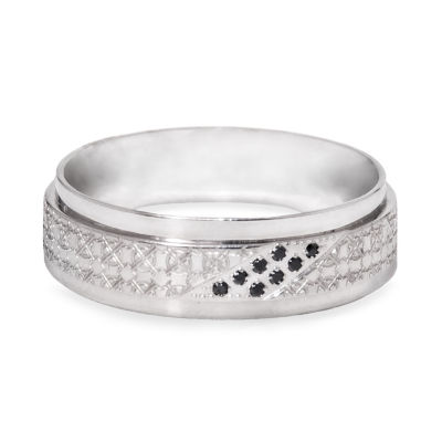 Mens 5mm Diamond Accent Black Diamond Stainless Steel Wedding Band