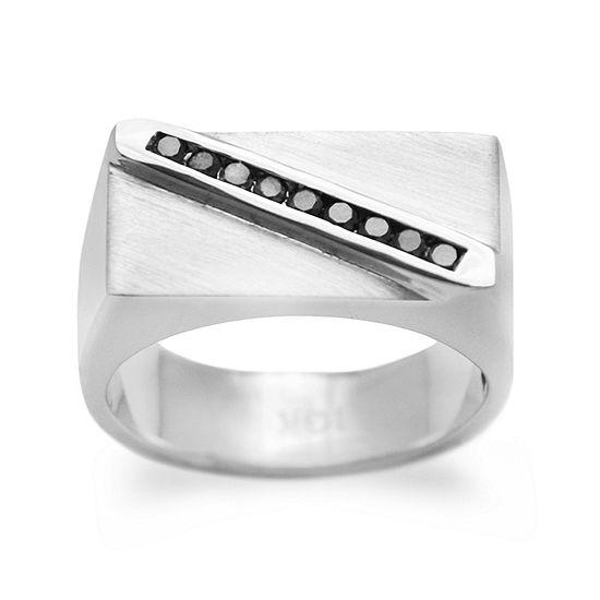 Mens 1 4 Ct Tw Genuine Black Diamond Sterling Silver Fashion Ring