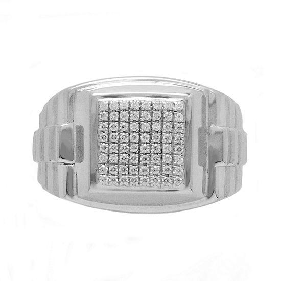 Mens 1/2 CT. T.W. Genuine White Diamond Sterling Silver Fashion Ring