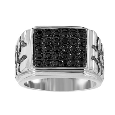 Mens 1/2 CT. T.W. Black Diamond Sterling Silver