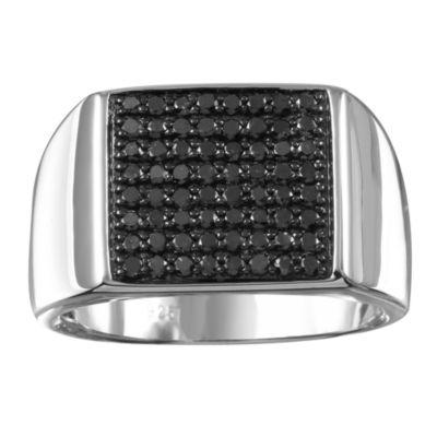 Mens 3/4 CT. T.W. Black Diamond Sterling Silver