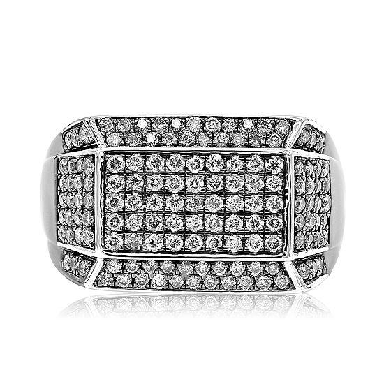 Mens 1 1/2 CT. T.W. Genuine White Diamond Sterling Silver Fashion Ring