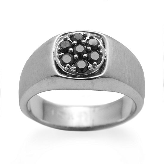 Mens 1/4 CT. T.W. Genuine Black Diamond Sterling Silver Fashion Ring