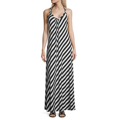 Lm Beach Stripe Jersey Swimsuit Cover-Up Dress