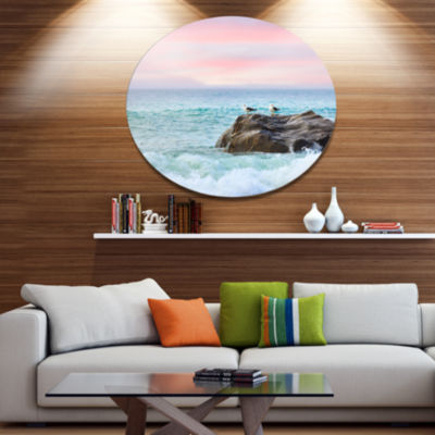 Designart Pair of Seagulls on Large Rock Disc Seascape Metal Circle Wall Art
