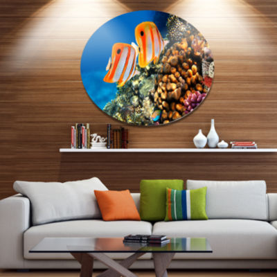 Designart Pair of Copper Band Butterfishes Disc Oversized Animal Wall Art
