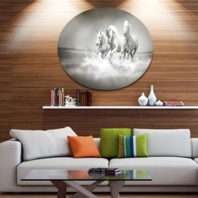 Designart Horses Running Through Water Disc Oversized Animal Wall Art