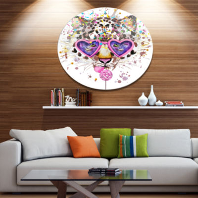 Designart Funny Leopard with Heart Glasses Disc Oversized Animal Wall Art