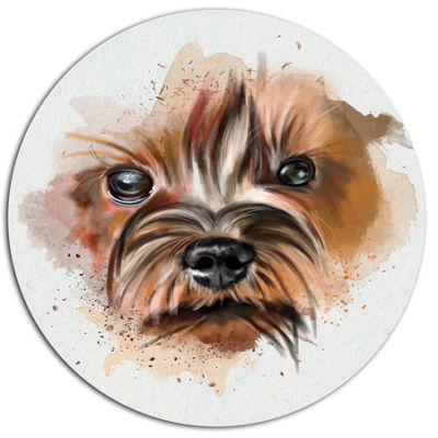 Designart Brown Funny Watercolor Dog Disc Oversized Animal Wall Art