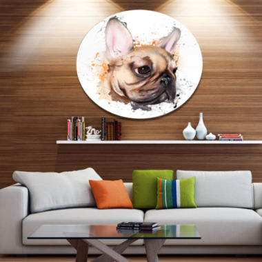 Designart Brown Watercolor French Bulldog Disc Oversized Animal Wall Art