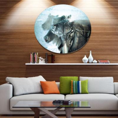 Designart Muzzle Reindeer in Frost Disc OversizedAnimal Wall Art