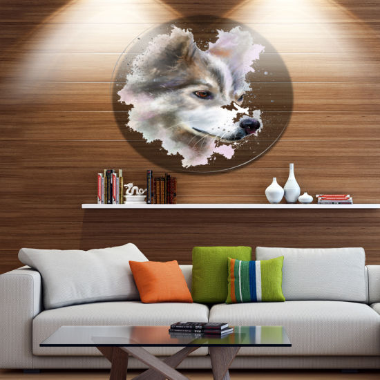 Designart Cute Brown Dog Watercolor Disc OversizedAnimal Wall Art