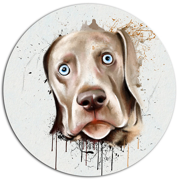 Designart Cute Dog Portrait Watercolor Disc Oversized Animal Wall Art
