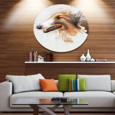 Designart Brown Dog Portrait Watercolor Disc Oversized Animal Wall Art