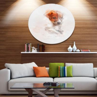 Designart Brown Puppy Dog Watercolor Disc Oversized Animal Wall Art