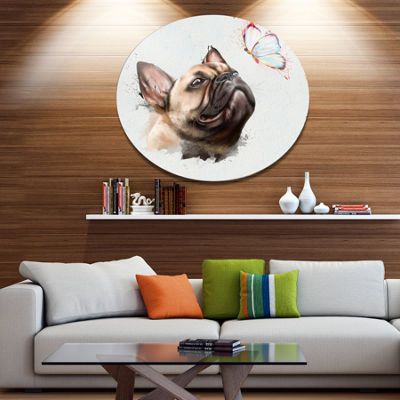 Designart Funny French Dog with Butterfly Disc Oversized Animal Wall Art