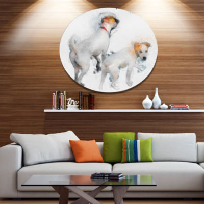 Designart Stylish White Dogs Walking Disc Oversized Animal Wall Art