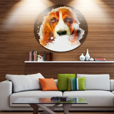 Designart Sober Brown Dog Portrait Disc OversizedAnimal Wall Art