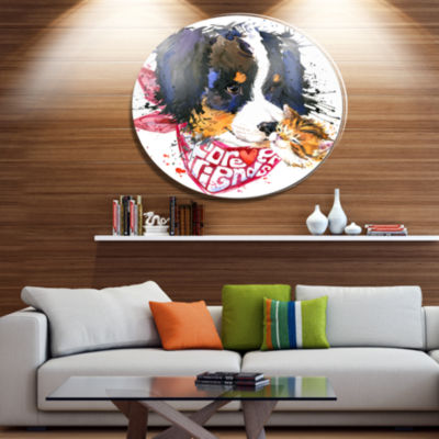 Designart Dog and Cat Friends Forever Disc AnimalMetal Circle Wall Art