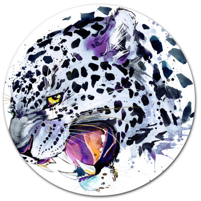 Designart Ferocious Snow Leopard Face Disc AnimalMetal Circle Wall Art