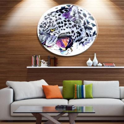 Designart Ferocious Snow Leopard Face Disc AnimalMetal Circle Wall Art
