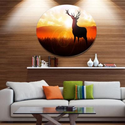 Designart Deer on Meadow During Sunrise Disc Animal Metal Circle Wall Art