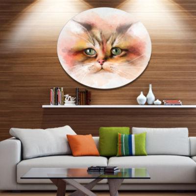 Designart Attractive Brown Cat Watercolor Disc Animal Metal Circle Wall Art