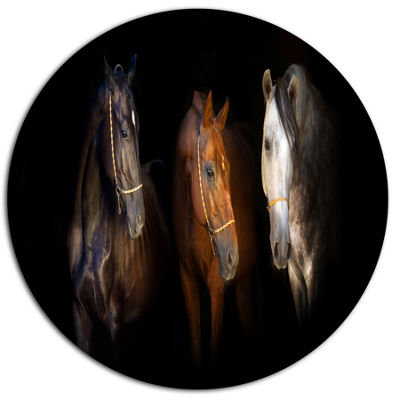 Designart Three Horses with Golden Bridle Disc Animal Metal Circle Wall Art