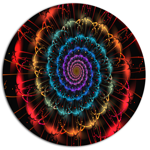 Designart Red Blue Abstract Spiral Flower Disc Oversized Abstract Metal Art