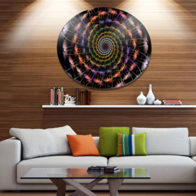 Designart Multicolor Abstract Spiral Flower Disc Oversized Abstract Metal Art