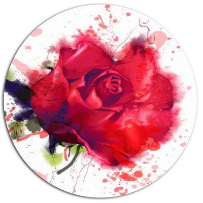 Designart Beautiful Bright Red Rose Disc Floral Metal Circle Wall Art
