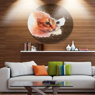 Designart Beautiful Brown Kitten Watercolor Disc Animal Metal Circle Wall Art