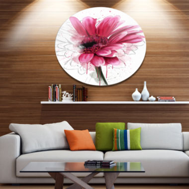 Designart Blooming Red Flower Watercolor Disc Floral Metal Circle Wall Art