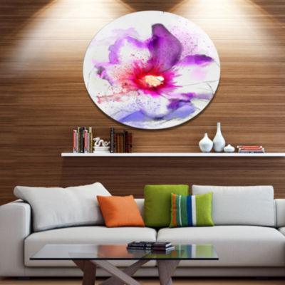 Designart Beautiful Pink Flower Watercolor Disc Large Floral Metal Circle Wall Art