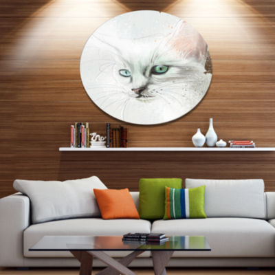 Designart Sweet Lovely White Cat Disc Animal MetalCircle Wall Art