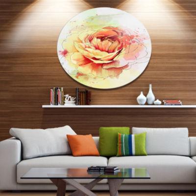 Designart Yellow Blooming Rose Disc Floral Metal Circle Wall Art