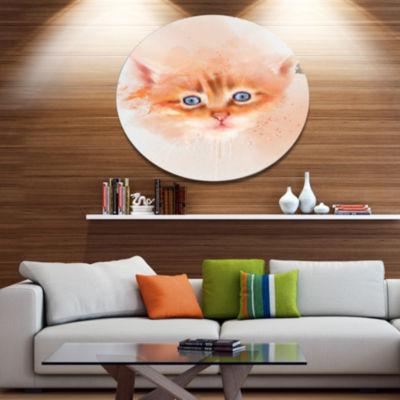 Designart Cute Brown Cat Watercolor Disc Animal Metal Circle Wall Art
