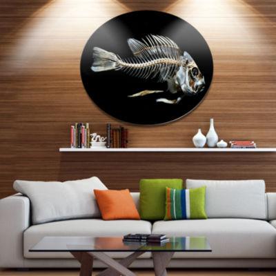 Designart Fish Skeleton Bone on Black Disc AnimalMetal Circle Wall Art