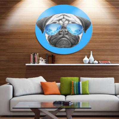 Designart Pug Dog with Mirror Sunglasses Disc Animal Metal Circle Wall Art
