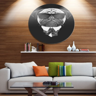 Designart Pug Dog Portrait in Suit Disc Animal Metal Circle Wall Art