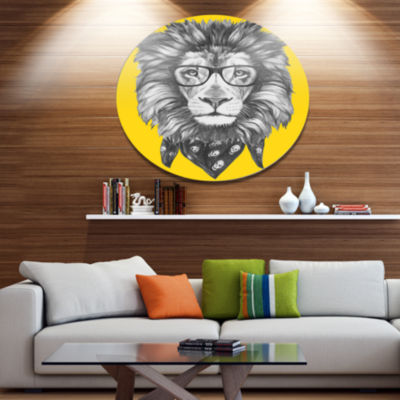 Designart Lion with Glasses and Scarf Disc AnimalMetal Circle Wall Art